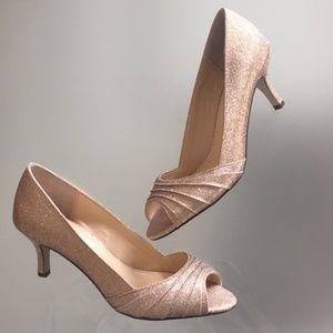 Bronze Pleated Peep Toe Kitten Heel Dress Pump